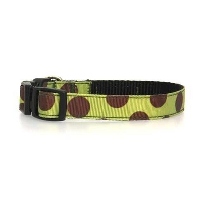 Walkewoo Moss Polka Dot On Brown Collar Extra Small