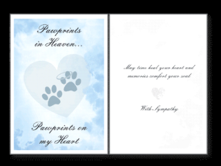 Dog Speak Sympathy Card Pawprints In Heaven