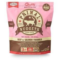 Primal Raw Frozen Cat Beef & Salmon Nuggets 3lb