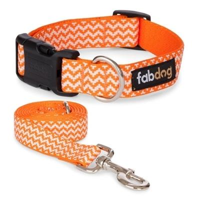 Fabdog Orange Chevron Stripe Collars & Leads - Paw Naturals