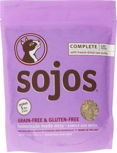 Sojos Grain Free Turkey Complete Food Mix 1lb Freeze-Dried Cat Food - Paw Naturals