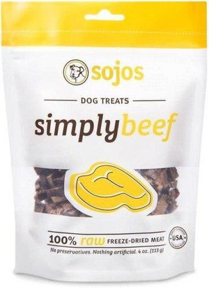 Sojos Simply Meat Beef 4oz Freeze-Dried Dog Treats - Paw Naturals