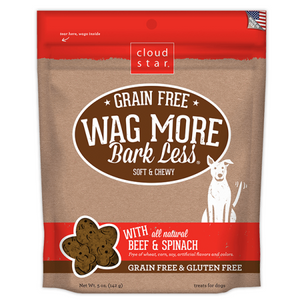 Cloud Star Wag More Soft & Chewy Treats Beef & Spinach 5oz - Paw Naturals