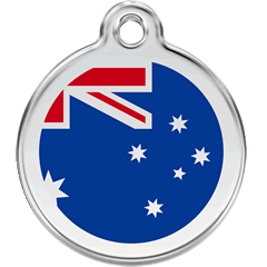 Red Dingo Enamel Pet ID Tag - Australian Flag