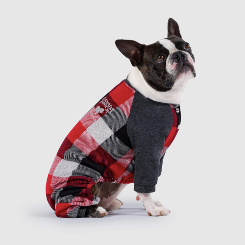 Canada Pooch Frosty Fleece Sweatsuit Onsie In Plaid