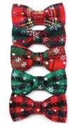 Sparky & Co Plaid w/ Snowflakes Holiday Bowtie Collar Charm