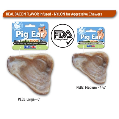 Pet Qwerks Nylon & Bacon Pig Ears - Paw Naturals