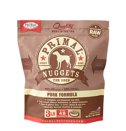 Primal Pork Raw Frozen Dog Food 3LB - Paw Naturals