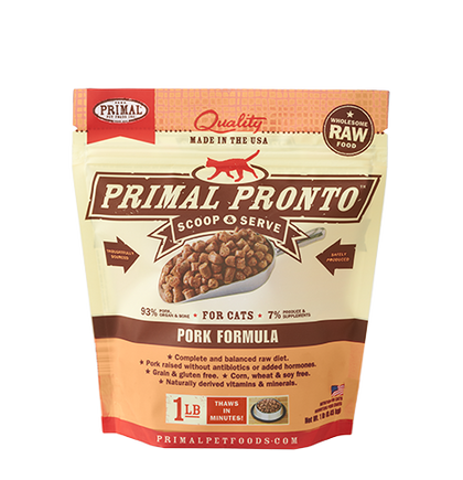 Primal Pronto 1lb Raw Frozen Cat Food Pork - Paw Naturals