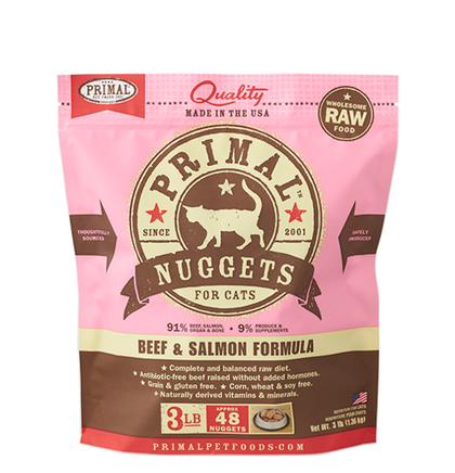Primal Raw Frozen Cat Food Beef & Salmon - Paw Naturals