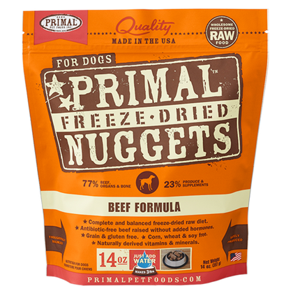 Primal Raw Freeze-Dried Dog Food Beef 14oz - Paw Naturals