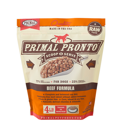 Primal Pronto Raw Frozen Dog Food 4lb Beef - Paw Naturals