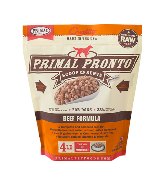 Primal Pronto Raw Frozen Dog Food 4LB