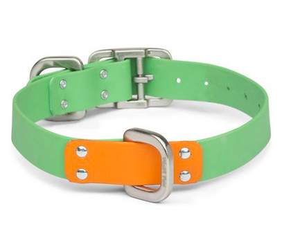 West Paw Design Jaunts Collar Greenery - Tangerine / Small - Paw Naturals