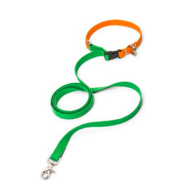 West Paw Design Jaunts Leash Greenery - Tangerine / Small - Paw Naturals