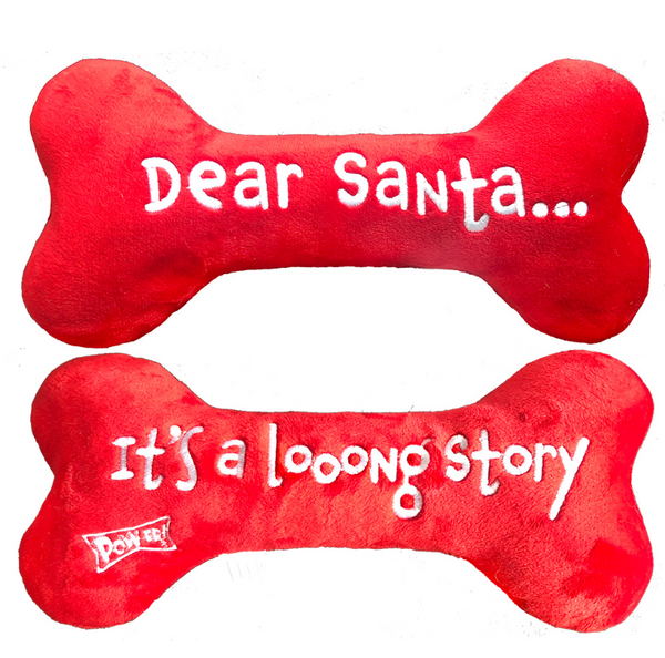Lulubelles Dear Santa Bone (embroidered two sides) Holiday Plush Toy