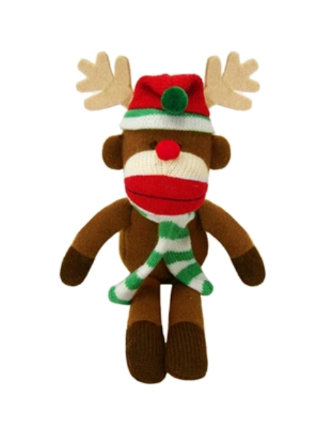 "Lulubelles 11"" Holiday Sock Monkey Max Reindeer Holiday Plush Toy"
