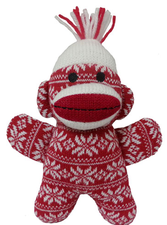 "Lulubelles 7.5"" Holiday Baby Sock Monkey Crystal Red Holiday Plush Toy"
