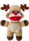 "Lulubelles 7.5"" Holiday Baby Sock Monkey Reindeer Jingle"