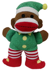 "Lulubelles 7.5"" Holiday Baby Sock Monkey Twinkle Elf Holiday Plush Toy"