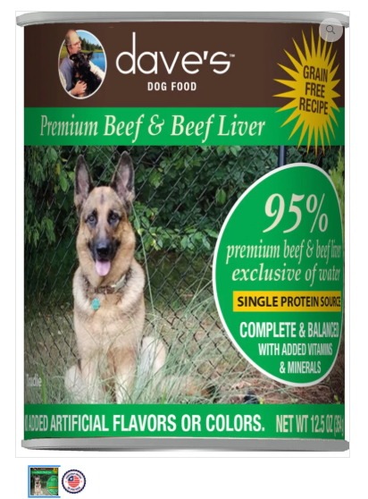 Dave's Pet Food 95% Premium Meats Beef Liver 12.5oz Canned Dog Food