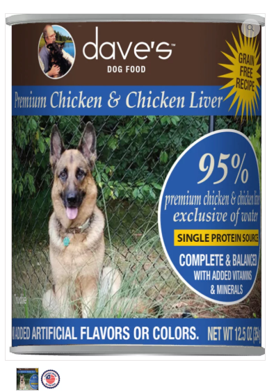 Dave's Pet Food 95% Premium Meats Chicken Liver 12.5oz Canned Dog Food