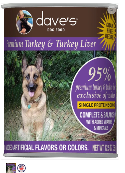 Dave's Pet Food 95% Premium Meats Turkey Liver 12.5oz Canned Dog Food