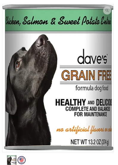 Dave's Pet Food Grain-Free Chicken Salmon Sweet Potato 13.2oz Canned Dog Food