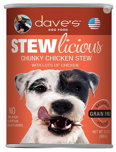 Dave's Pet Food Stewlicious Grain-Free Chunky Chicken 13oz Canned Dog Food