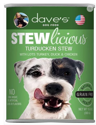 Dave's Pet Food Stewlicious Grain-Free Turducken 13oz Canned Dog Food