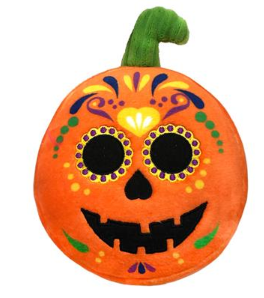 Lulubelles Power Plush Sugar Skull Pumpkin Dog Toy