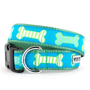 The Worthy Dog Preppy Bones Blue Collar & Lead Collection XS Dog Collar - Paw Naturals