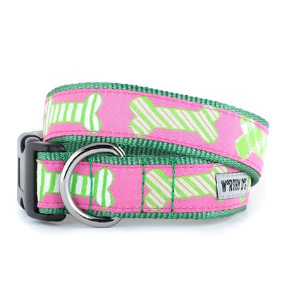 The Worthy Dog Preppy Bones Pink Collar & Lead Collection XS Dog Collar - Paw Naturals