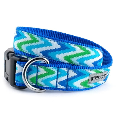 The Worthy Dog Static Chevron Blue Collar & Lead Collection