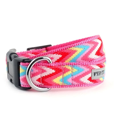 The Worthy Dog Static Chevron Pink Collar & Lead Collection XS Dog Collar - Paw Naturals