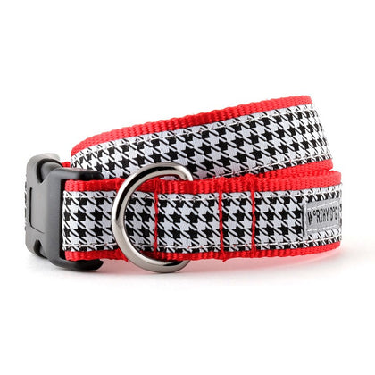 The Worthy Dog B&w Houndstooth Collar & Lead Collection XS Dog Collar - Paw Naturals