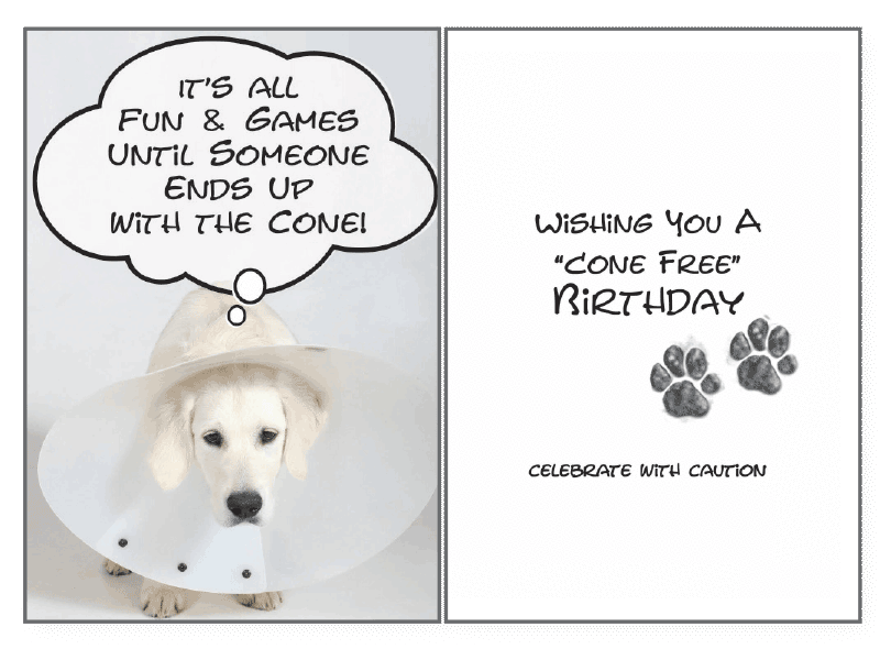 Dog Speak Cone Free Birthday Card