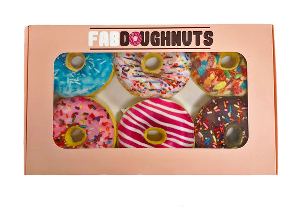 fab dog Box of Doughnuts 6pk Plush Dog Toy