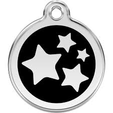 Red Dingo Enamel Pet ID Tag - Star Black / Large - Paw Naturals