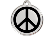 Red Dingo Enamel Pet ID Tag - 1PC - Peace Sign