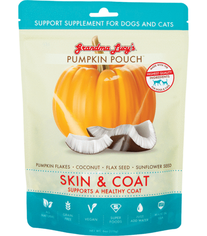 Grandma Lucy's Pumpkin Pouch Supplement Treats For Dogs & Cats Skin & Coat - Paw Naturals
