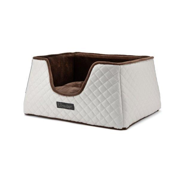 Nandog Pet Gear Nandog Prive Collection Quilted Faux Leather White & Brown Cube Bed