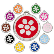 Red Dingo Enamel Pet ID Tag - 1FW - Flower