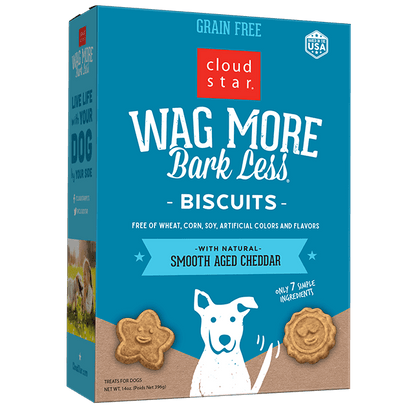 Cloud Star Wag More Bark Less Grain-Free Biscuits 14oz Dog Treat Cheddar - Paw Naturals