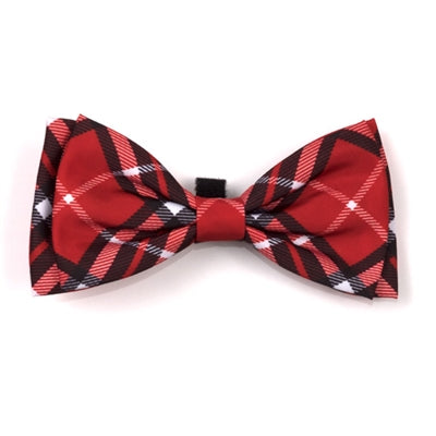 The Worthy Dog Bias Plaid Red Bow Tie