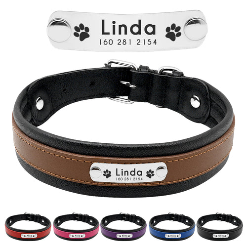 Personalised Genuine Leather Padded Collar