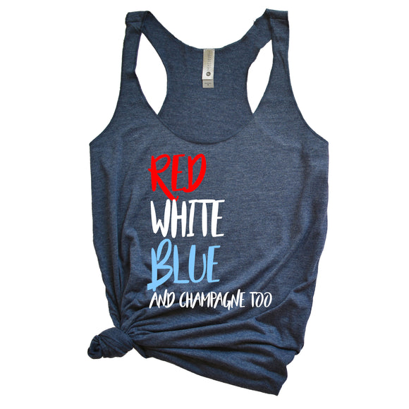 Red White Blue Champagne Too Tank