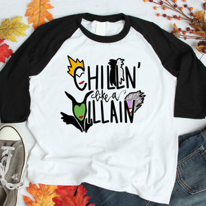 Chillin Like A Villain 3/4 sleeve raglan shirt - Flop The World Pop
