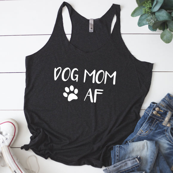 Dog Mom AF Women's Racerback Tank - Flop The World Pop