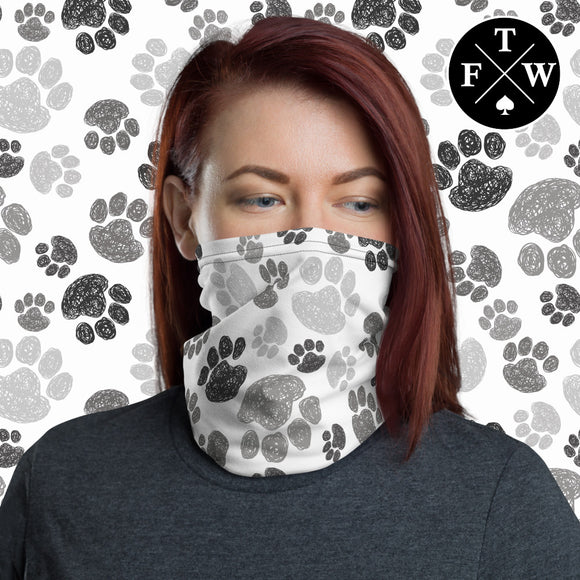 Multiple Color Paw Prints Face Mask / Headband